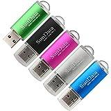 SunData 5 Pack 32GB USB 2.0 Flash Drive Thumb Drives Memory Stick Jump Drive Zip Drive, 5 Colors: Black Blue Green Silver Pink