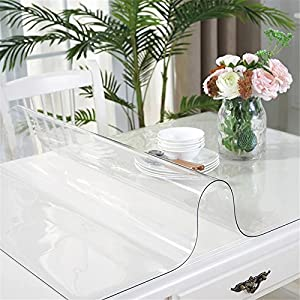 OstepDecor Custom 48 x 24 Inch Clear Table Cover Protector, 1.5mm Thick Desk Cover Plastic Table Protector Clear Table…