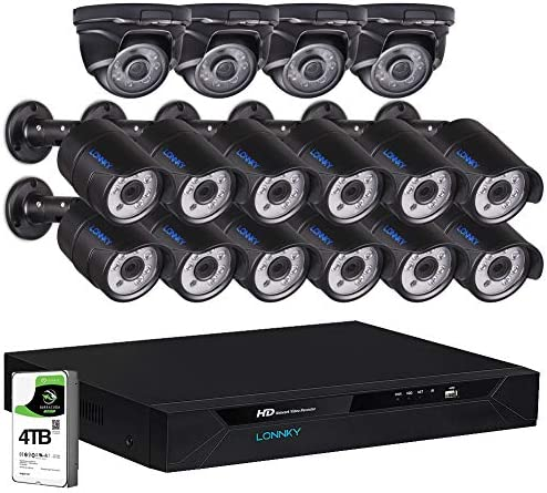 16CH LONNKY 16 Channel Full 1080P Security Camera System,5-in-1 Surveillance Video DVR Recorder with 4TB HDD and 16PCS 2MP Outdoor Waterproof BulletDome Cameras,Free App Email Alerts,Easy Install