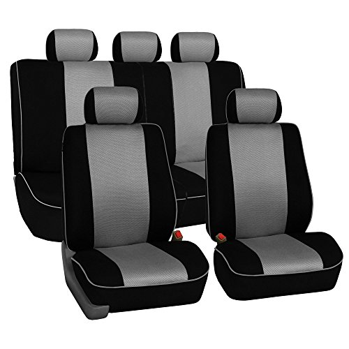 FH Group FH-FB063115 Full Set Sports Fabric Car Seat Covers, Airbag Compatible and Split Bench Gray/Black- Fit Most Car, Truck, SUV, or Van