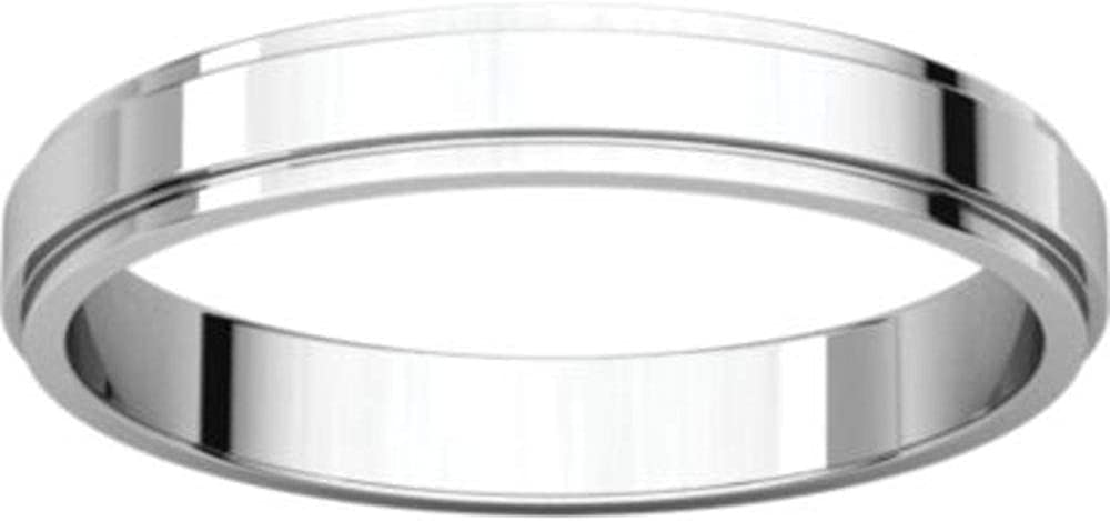 Bonyak Jewelry 14k White Gold 3 mm Flat Edge Band Size 9.5