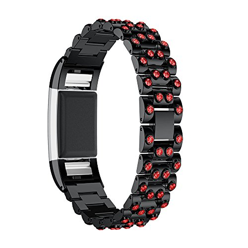 Crystal Red Strap Watch (For Fitbit Charge 2 Metal Band, Adjustable Replacement Bands Crystal Rhinestones Bracelet Wrist Strap for Fitbit Charge 2 Smart Watch (Black & Red rhinestones))