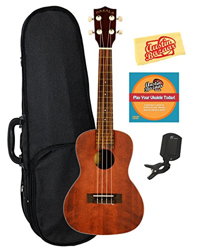 Kala MK-C Makala Concert Ukulele Bundle with Hard Case, Clip-On Tuner, Austin Bazaar Instructional DVD, and Polishing Cloth