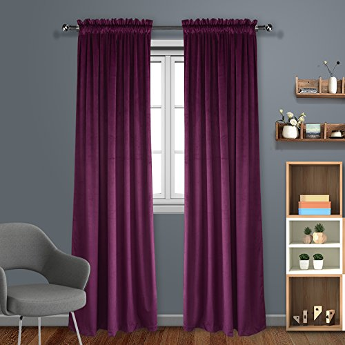 Living Room Blackout Velvet Curtains - Super Soft Dutch Velvet Rod Pocket Drapes Sound Reducing Heavy Solid Panels (1 Pair, 96 inch Long, Royal Purple)