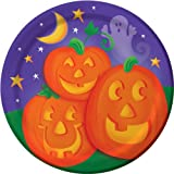 Creative Converting Halloween Pumpkin Cheer Value Pack Round Dinner Plates, 50-Count