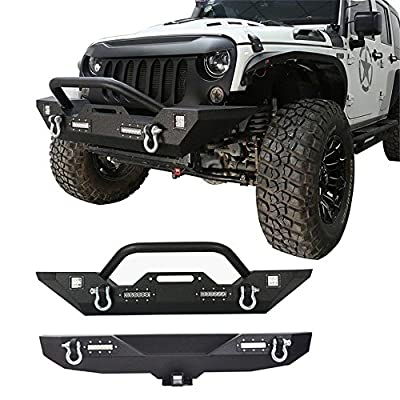 "Hooke Road Textured Black Different Trail Front Bumper + Rear Bumper w/2"" Hitch Receiver Kit for 2007-2018 Jeep Wrangler JK"