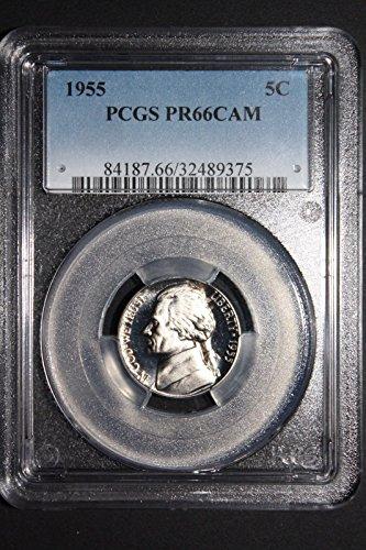 1955 Proof Nickel 5 Cent PCGS Rare PR66 Cameo Nickel PR66 PCGS CAM