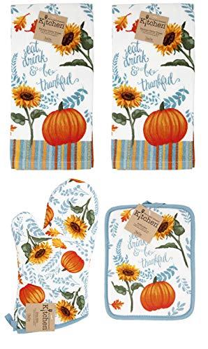 (Kay Dee Autumn Eat, Drink & Be Thankful 4pc Set Potholder, Oven Mitt, Terry Towels Pumpkin Sunflower Teal Leaves )