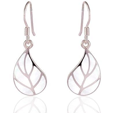 DTPSilver - 925 Sterling Silver Dangle Leaf Earrings HVpw41