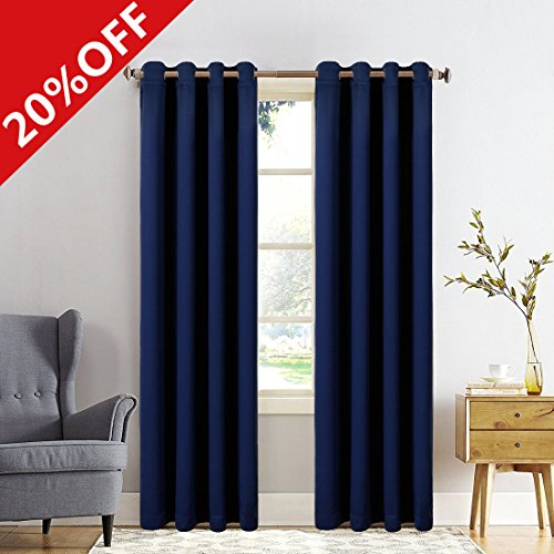 MEROUS Window Treatment Thermal Insulated Solid Grommet Blackout Curtains / Drapes for Bedroom (Set of 2 Panels,5263inch,Navy)