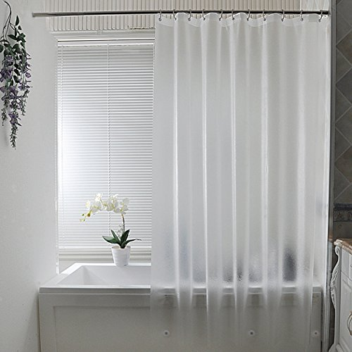 Extra Long Shower Curtain Liner, Aoohome 15 Gauge Clear Eva Frosted Shower Curtain with 3 Bottom Magnets, Mildew Resistant, Heavy Duty, Semi-transparent, 72 x 86 Inch