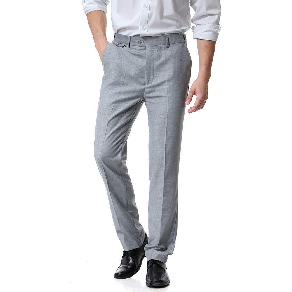 LuckyGirls Pantalones de Traje para Hombre Entallada Negocio Recto Suelto Pantalón 10 Colores Tallas S-6XL