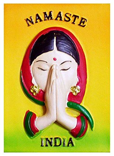 DollsofIndia Namaste India - Stone Dust Magnet - 2.5 x 1.75 inches (RK02) (Namaste Magnet)