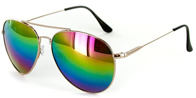 0b9fa2c41f50 Officer Aviator Sunglasses with Rainbow Revo Lens for Stylish Men an Women  (Gold w/