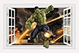 Scarvesnthangs Marvel's Incredible Hulk Window Design Peel and Stick 42.2 inch x 31.5 inch Removable Wall Decal The Incredible Hulk 3D Wall Art Stickers For Home Decoration Or Kids Bedroom