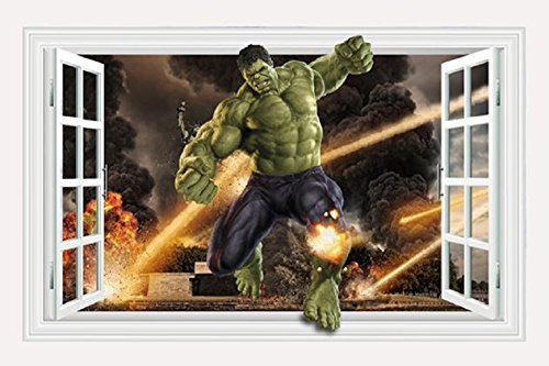 Marvel's Incredible Hulk Window Design Peel and Stick 42.2 inch x 31.5 inch Removable Wall Decal The Incredible Hulk 3D Wall Art Stickers For Home Decoration Or Kids (Incredible Hulk Costumes For Adults)