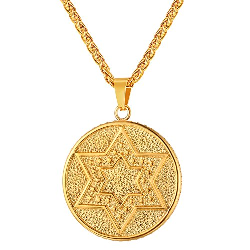 U7 Jewish Jewelry Vintage Style Amulet Pendant for Men & Women Chain 22 Inch Stainless Steel/Rose Gold/Black Gun Plated/ 18K Gold Plated Star of David Necklace (Seal of Solomon 18K ()