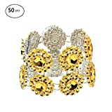 50PCS Bling Sunflower Napkin Rings Hotel Restaurant Wedding Party Supplies Rhinestone Napkin Rings Tableware Decorative Set Gold