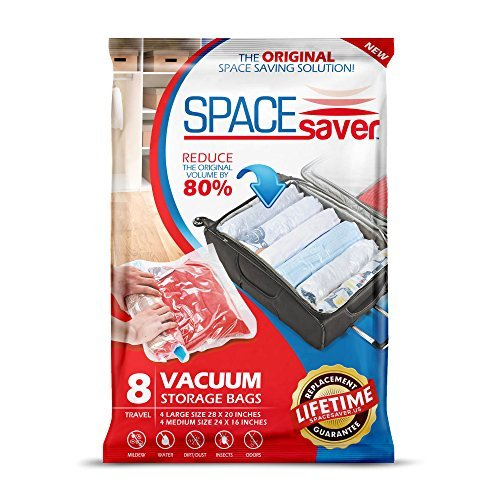 SpaceSaver 8 x Premium Travel Storage Bags For Clothes, Pillow Cases & More, (4 x Large, 4 x Medium), 80% More Storage Than Leading Brands!