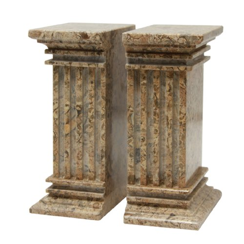 MarbleCrafter Fossil Stone Fluted Column Bookends (Column Marble Bookends)