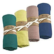 Oliver & Rain Baby Swaddle Sampler - 4-Pack Newborn 100% Organic Cotton Muslin Swaddle Blankets in Teal, Lime, Taupe, Navy