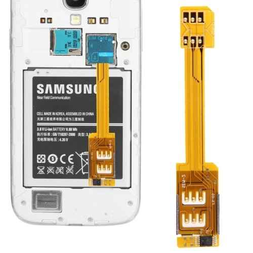 Funnytoday365 Dual Sim Card Adapter For Samsung Galaxy S5/G900, Iv/I9500, Iii/I9300, Note Iii/N9000, Note Ii/N7100, Mega 6.3/I9200,Etc