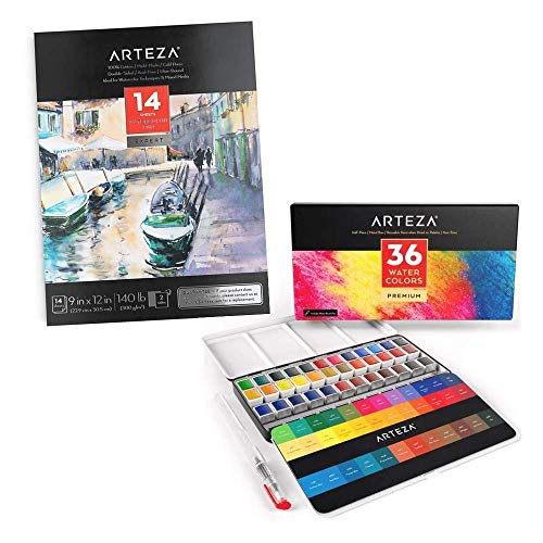 Arteza Watercolor Half Pans and Watercolor Pad Bundle for Artists & Beginners