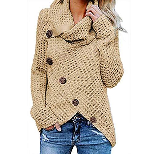 (FOLUNSI Women's Turtleneck Knit Chunky Wrap Cowl Neck Pullover Sweater Beige M)