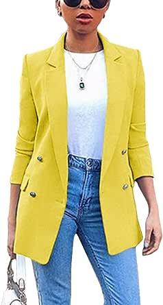 ORANDESIGNE Blazer Mujer Chaqueta de Traje Slim Fit Elegante Casual Oficina Negocios Outwear Solapa Manga Larga Chaqueta de Traje para Mujer
