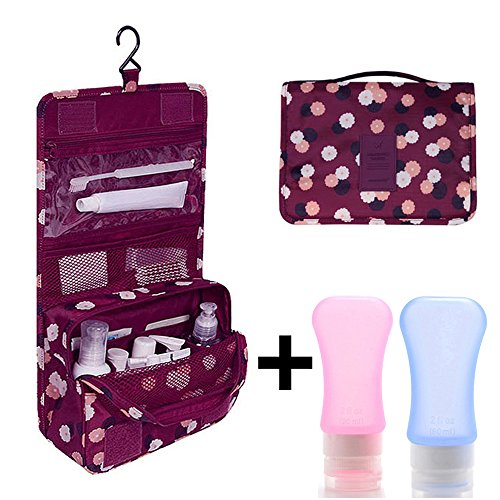 Yarachel Portable Hanging Toiletry Bag - Waterproof Travel Organizer Makeup Cosmetic Bag For Household Storage, Trips Or Vacation & Soft Silicone Bottles Set (Red Flower)