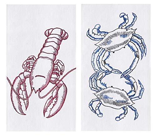 C&F 2 Piece Sea Life Kitchen Bundle - 2 Embroidered Flour Sack -