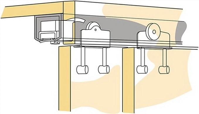 Schiebet/ürbeschlag SLIDUP 1000 mit SOFT CLOSE D/ämpfer Laufschiene 155 cm 1 T/ür bis 80 kg f/ür Durchgangst/üren.
