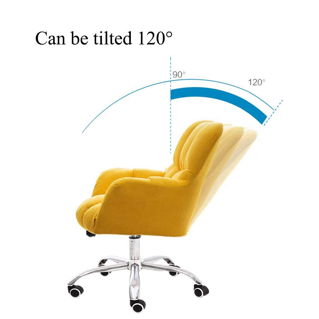 YLMF Swivel kontorsstol flanell kudde och ryggstöd ergonomisk kontorsstol justerbar höjd och fixerat armstöd femstjärniga stålfötter gUL