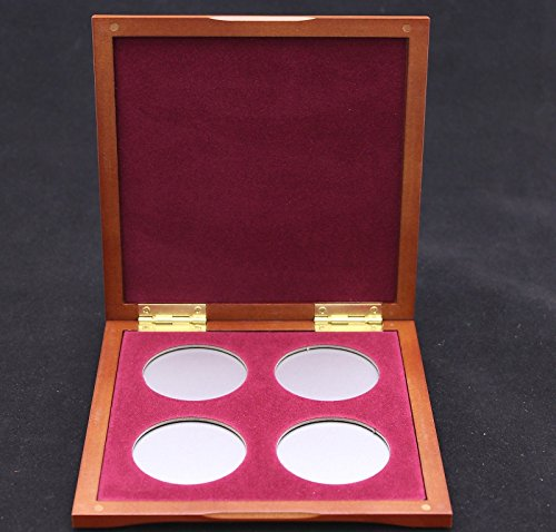 Cherry Wood Box with Burgundy Interior and Four Airtite Capsules for American Silver Eagle Coins