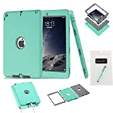 iPad Air Case, iPad 5 Case,MAKEIT 3in 1 Heavy Duty Full-body Protection Combo Hybrid Impact Silicone Hard Case Cover for Apple Ipad Air/Ipad 5 (Mint Green/Gray)