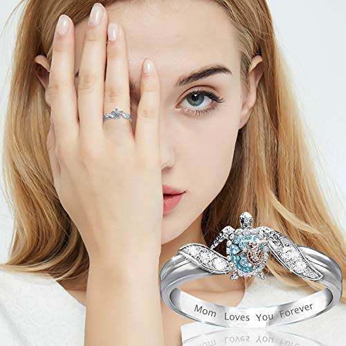 TONGHANG Rings for Women Turtle Statement Ring Mom Loves You Forever, Diamond Microinlaid Zircon Female Ring Jewelry, Women Girls Jewelry