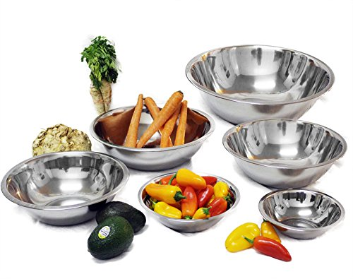 Tiger Chef Set of 6 Mixing Bowls Standard Weight Stainless Steel, Mirror Finish, 3/4, 11/2, 3, 4, 5, and 8 Qt (set of 6)…