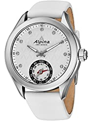 Alpina Horological Smartwatch Womens Fitness Watch - 39mm White Face Swiss Made Diamond Watch - White Satin Leather...