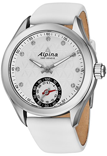 Alpina Horological Smartwatch Womens Fitness Watch - 39mm White Face Swiss Made Diamond Watch - White Satin Leather Band Water Resistant Running Watch with Sleep Monitor and Activity Tracker For Women