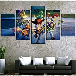 Wall Art 5Pcs Toy Story Painting Wall Art Hd Print Canvas Home Decor (Size 1) Frameless
