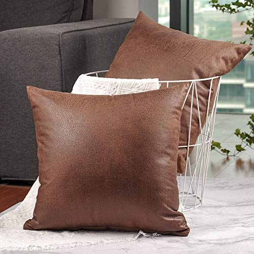 (CZHO Pack of 2, Soft Decorative Faux Leather Pillow Covers, Square Modern Outdoor Cushion Case, Durable Rustic Throw Pillow Cover Shell for Couch Sofa Bed 18x18 Inch (Brown))