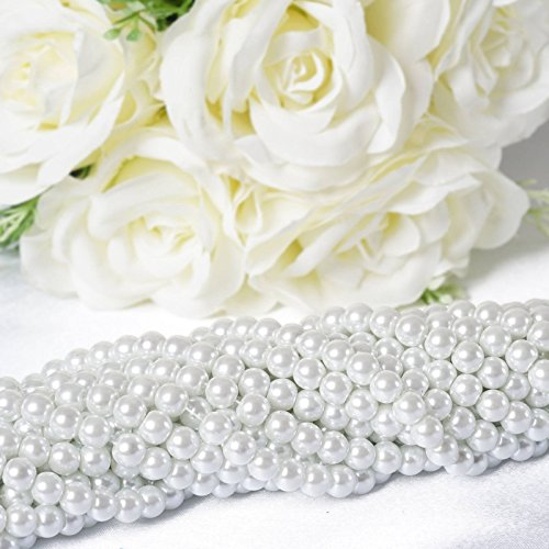 - Efavormart 9YARD 8mm Faux Pearl Bead for Party Favor DIY Decorations Strands Garland Tabletop Decoration - White - 10 Strands