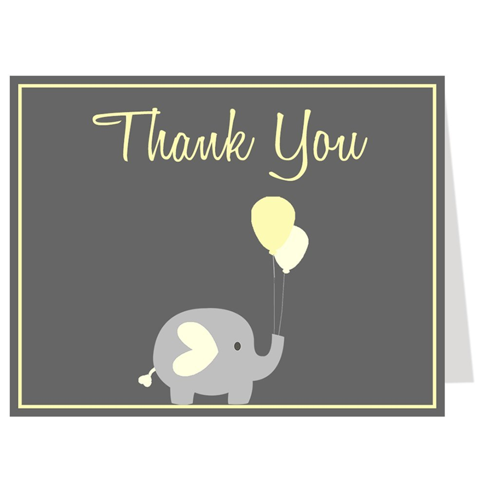 Elephant, Thank You Cards, Baby Shower, Balloons, Yellow, Gray, Grey, Baby Shower Thank You Cards, Unisex, Gender Neutral, Team Green, Sprinkle, 50 Pack Folding Notes with White Envelopes