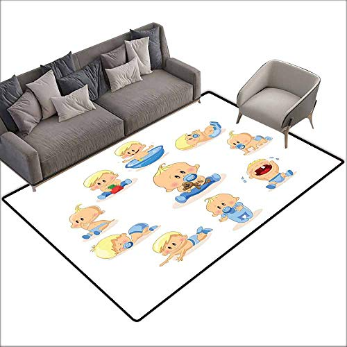 Betty Rug Baby Boop - Bath Rug Slip Baby Baby Boy Crying Walking Playing with Toys Sleeping Goofy Infant Person Happy Easy to Clean W6' x L8'10 Ivory Pale Blue