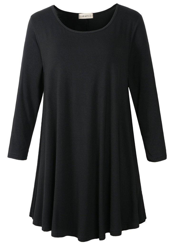 LARACE Women 3/4 Sleeve Tunic Top Loose Fit Flare T-Shirt(2X, Black)