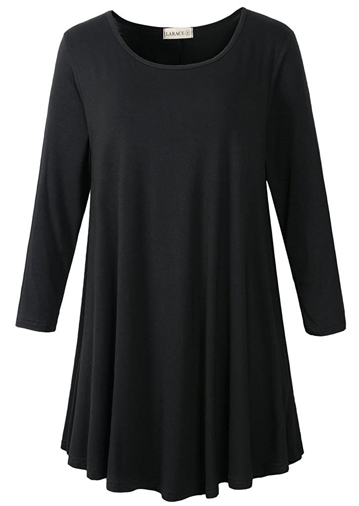 Black LARACE Women 3 4 Sleeve Tunic Top Loose Fit Flare TShirt