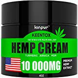 Hemp Pain Relief Cream - 10 000MG - Relieves Muscle, Joint Pain, Lower Back Pain, Knees, and Fingers - Inflammation - Hemp Extract Remedy - Hemp Oil with MSM - EMU Oil - Arnica - Turmeric Made in USA
