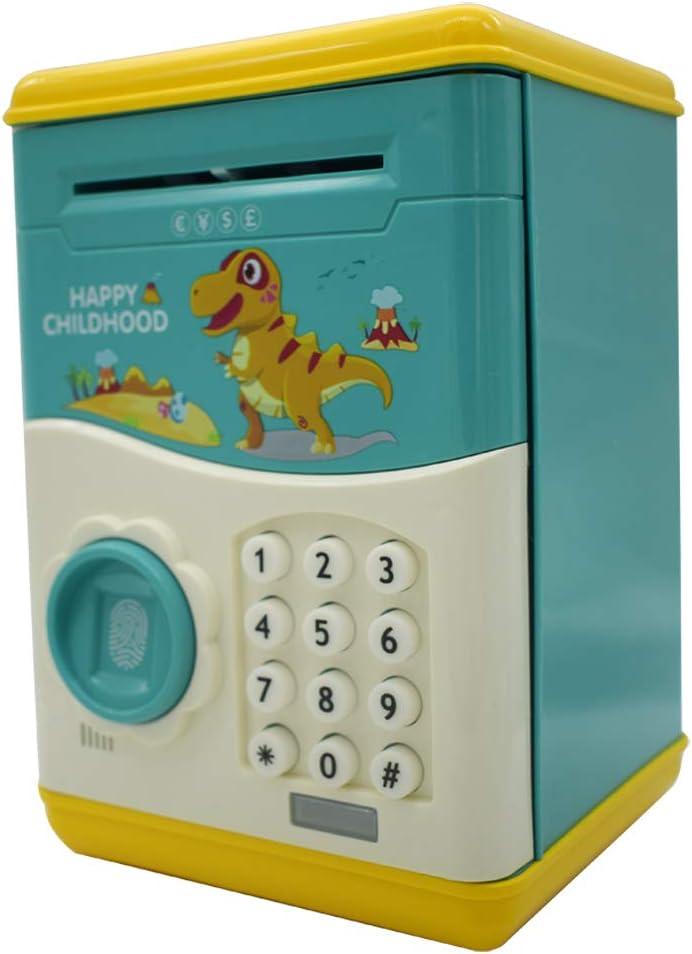 ATM Savings Bank Dinosaur Unicorn Cartoon Fingerprint Password Money Bank Cash Coin Can,Electronic Money Bank,Birthday Gifts Toy Gifts for Kids, Green Tyrannosaurus TACY Piggy Bank