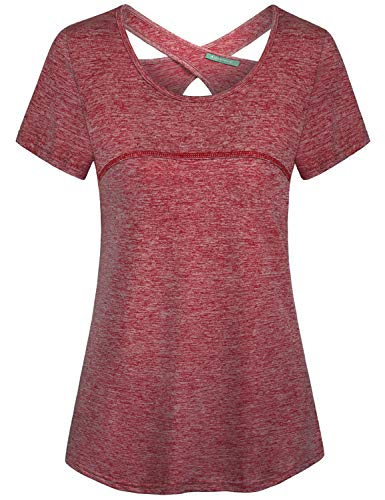 - Kimmery Dry Fit Shirts Women, Short Sleeve Active Tops Flattering Cool Dry Open Back Workout Wear Clothes Tunic Sweat Wicking Crew Neck Travel Walking Running Tshirt Beautiful Drape Marled Red XXL