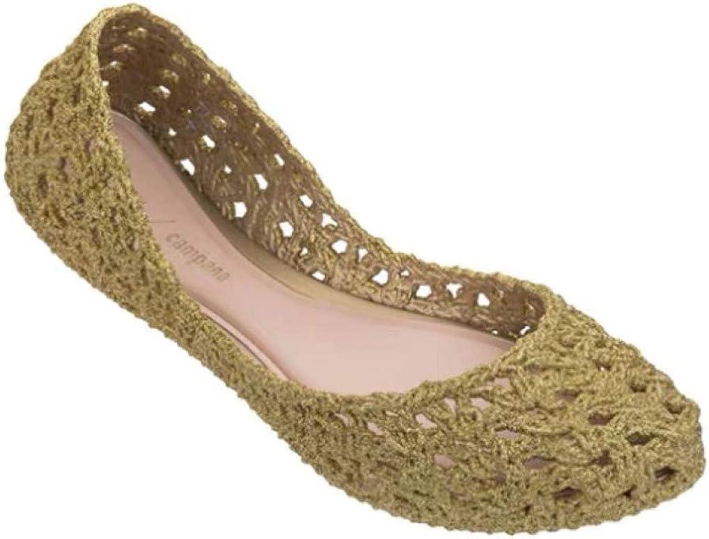 Chaussures Creuses pour Femmes en gelée à Bouts fermés et Sandales Plates décontractées Or
